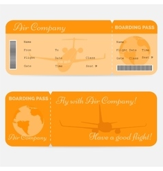 Variant of airline boarding pass Orange ticket vector image