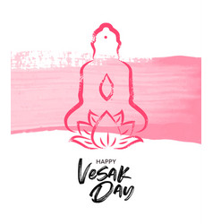 vesak day card pink buddha with lotus flower vector image