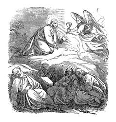 Vintage drawing biblical story jesus prays vector