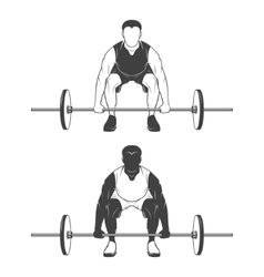 Weightlifting athlete lifting a barbell vector image