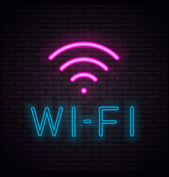 wi-fi neon sign vector image