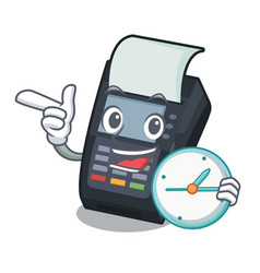 With clock machine edc isolated in mascot vector