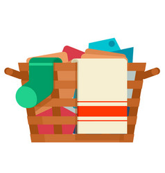 wooden wicker laundry basket washing dirty clothes vector image