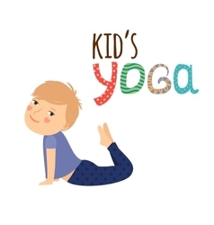 Yoga kids logo design with boy vector