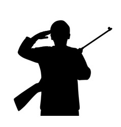 young man saluting with gun vector image