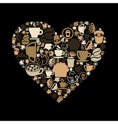 Coffee heart vector image vector image