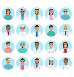 doctors and nurses characters avatars set medical vector image