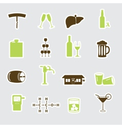 alcohol stickers set eps10 vector image