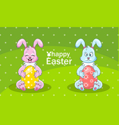 Cartoon rabbits couple with eggs for happy easter vector