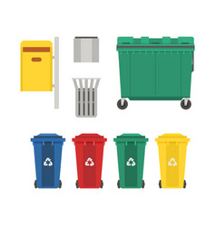 garbage bins and trash cans set vector image vector image