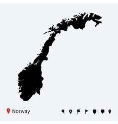 High detailed map of norway with navigation pins vector