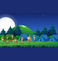 kids camping out in the forest vector image vector image