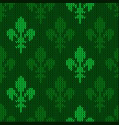 knitted woolen heraldic lily of green tones vector image vector image