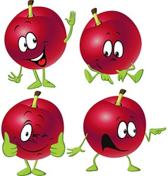 red plum cartoon with hands and legs standing vector image