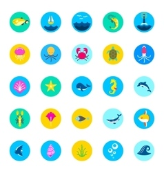 set of 25 sea icons marine fishes and nature flat vector image