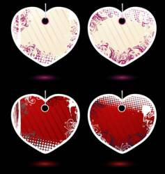 set of heart-shaped labels vector image vector image