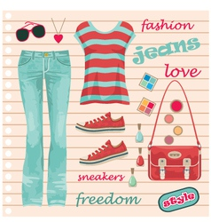 Jeans fashion set vector image