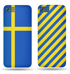 Rear covers smartphone with flags of Sweden vector image vector image
