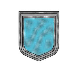 shield icon in color crayon silhouette vector image