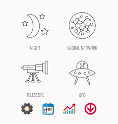 ufo global network and telescope icons vector image vector image