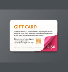 design gift card with gold text and pink glossy vector image vector image