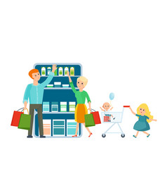family buys the store joint vacation in good mood vector image vector image