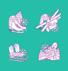 hand drawn winter sports equipment piles vector image vector image