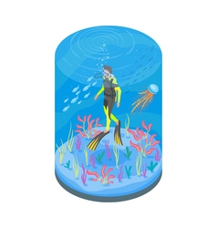 Isometric 3d of diver with snorkelling equipment vector