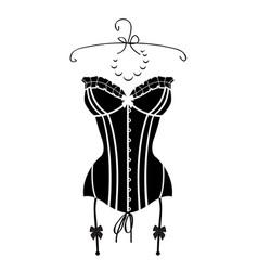 ladys sexy black vintage corset vector image vector image