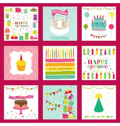 Set of Happy Birthday and Party Invitation Card vector image