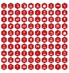 100 hairdresser icons hexagon red vector