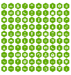 100 honeymoon icons hexagon green vector