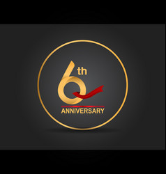 6 anniversary design golden color with ring vector