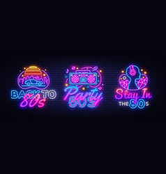 80s collection neon signs back to 80s vector image