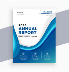 abstract blue wave business annual report template vector image