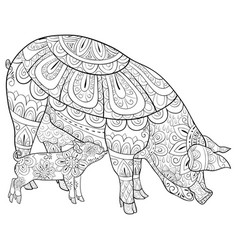 Adult coloring bookpage a pigs family a mother vector