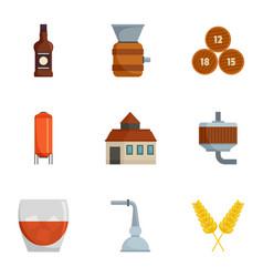 Alcohol distillation icons set cartoon style vector