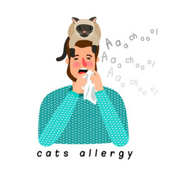 allergic person with cat on head vector image