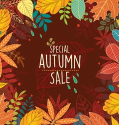 Autumn special sale poster with leaves vector image