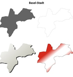 Basel-Stadt blank detailed outline map set vector