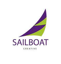 Bright purple sailboat sign design modern logos vector