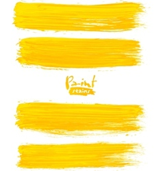 Bright yellow acrylic brush strokes vector image