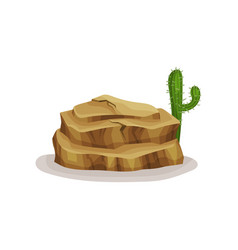 Brown rock stone and cactus design element of vector