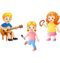 cartoon kid playing music together vector image