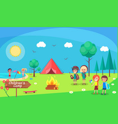 Children camp bonfire nature and kids camping vector