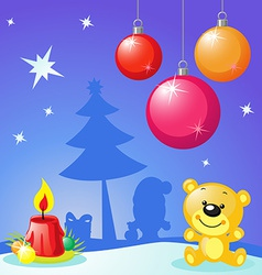 Christmas design with xmas balls candle and bear vector