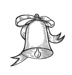 christmas engraving bell vector image