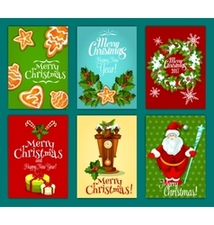 Christmas holiday greeting card and poster set vector