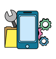 color smartphone with industry equipment and vector image