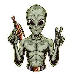 Colorful concept alien holding gun blaster vector